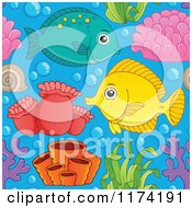 Cartoon Of A Seamless Marine Fish Coral Plant And Anemone Pattern Royalty Free Vector Clipart by visekart