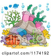 Cartoon of Reef Corals Anemones and Fish - Royalty Free Vector Clipart by visekart