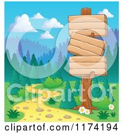 Cartoon Of Wooden Signs Along A Path Leading Into The Forest Royalty Free Vector Clipart
