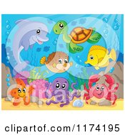 Cartoon Of A Dolphin Sea Turtle Starfish Octopus Crab Fish And Puffer Royalty Free Vector Clipart by visekart