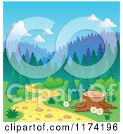 Cartoon Of A Tree Stump Along A Path Leading Into The Forest Royalty Free Vector Clipart