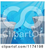 Cartoon Of An Underwater Ocean Background Of Sea Cliffs Corals And Fish Royalty Free Vector Clipart by visekart