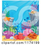 Cartoon Of An Underwater Ocean Background Of Reef Corals Anemones And Fish 2 Royalty Free Vector Clipart