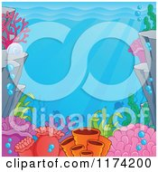 Cartoon Of An Underwater Ocean Background Of Reef Corals Anemones And Fish Royalty Free Vector Clipart by visekart