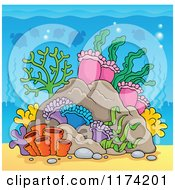 Cartoon Of An Underwater Ocean Background Of Reef Corals Anemones And Fish 5 Royalty Free Vector Clipart by visekart