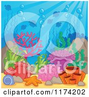 Cartoon Of An Underwater Ocean Background Of Reef Corals Anemones And Fish 3 Royalty Free Vector Clipart by visekart