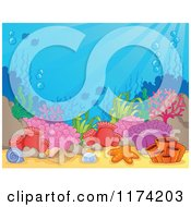 Cartoon Of An Underwater Ocean Background Of Reef Corals Anemones And Fish 4 Royalty Free Vector Clipart