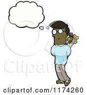 African American Man With Flowers And A Conversation Bubble