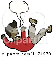 Cartoon Of An African American Man Falling With A Conversation Bubble Royalty Free Vector Illustration