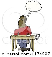 African American Man At Desk With A Conversation Bubble