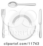 Dinner Plate Fork Spoon And Butter Knife Clipart Illustration