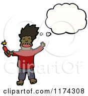 Cartoon Of An African American Man With Dynamite A Conversation Bubble Royalty Free Vector Illustration