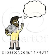 Cartoon Of An African American Man With Camera And A Conversation Bubble Royalty Free Vector Illustration by lineartestpilot