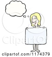 Cartoon Of A Nude Blonde Woman With A Sign And A Conversation Bubble Royalty Free Vector Illustration