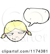 Cartoon Of A Blonde Girl With Pigtails With A Conversation Bubble Royalty Free Vector Illustration