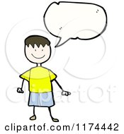 Cartoon Of A Stick Boy With A Conversation Bubble Royalty Free Vector Illustration