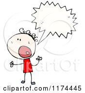 Cartoon Of A Stick Person Yelling With A Conversation Bubble Royalty Free Vector Illustration