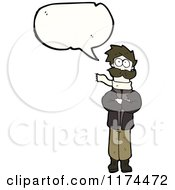 Cartoon Of A Avaitor With A Conversation Bubble Royalty Free Vector Illustration