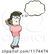 Man Holding Flowers With A Conversation Bubble