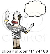 Cartoon Of A Man Dressed As A Viking With A Conversation Bubble Royalty Free Vector Illustration by lineartestpilot