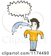 Cartoon Of A Spitting Man Wearing A Sweater With A Conversation Bubble Royalty Free Vector Illustration