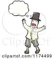 Cartoon Of A Man Dressed As A Hobo With A Conversation Bubble Royalty Free Vector Illustration