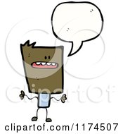 Cartoon Of An African American Stick Boy With A Conversation Bubble Royalty Free Vector Illustration