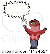 Cartoon Of An African American Boy Wearing A Hoodie With A Conversation Bubble Royalty Free Vector Illustration