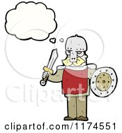 Cartoon Of A Man In A Viking Costume With A Conversation Bubble Royalty Free Vector Illustration