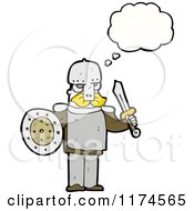 Cartoon Of A Man Wearing Armor With A Conversation Bubble Royalty Free Vector Illustration by lineartestpilot