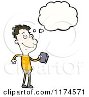 Cartoon Of A Man With A Book And A Conversation Bubble Royalty Free Vector Illustration