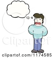 Cartoon Of A Man Wearing A Sweater With A Conversation Bubble Royalty Free Vector Illustration