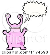Cartoon Of A Pink Monster With A Conversation Bubble Royalty Free Vector Illustration