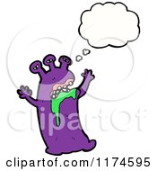 Cartoon Of A Purple Drooling Monster With A Conversation Bubble Royalty Free Vector Illustration