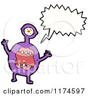 Cartoon Of A Purple Monster With A Conversation Bubble Royalty Free Vector Illustration