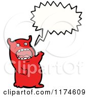 Cartoon Of A Red Monster With A Conversation Bubble Royalty Free Vector Illustration