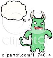 Cartoon Of A Green Horned Monster With A Conversation Bubble Royalty Free Vector Illustration