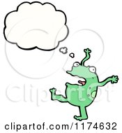 Cartoon Of A Green Monster With A Conversation Bubble Royalty Free Vector Illustration