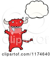 Cartoon Of A Red Drooling Monster With A Conversation Bubble Royalty Free Vector Illustration