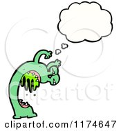 Cartoon Of A Green Drooling Monster With A Conversation Bubble Royalty Free Vector Illustration