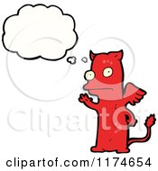 Cartoon Of A Red Winged Monster With A Conversation Bubble Royalty Free Vector Illustration