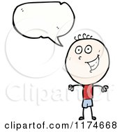 Cartoon Of A Happ Stick Boy With A Conversation Bubble Royalty Free Vector Illustration