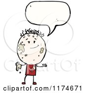 Cartoon Of A Muddy Stick Boy With A Conversation Bubble Royalty Free Vector Illustration