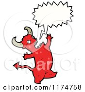 Cartoon Of A Red Horned Monster With A Conversation Bubble Royalty Free Vector Illustration
