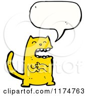 Cartoon Of A Yellow Monster With A Conversation Bubble Royalty Free Vector Illustration