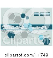 Blue Octagon Background Clipart Illustration