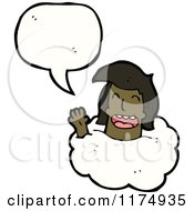 Cartoon Of An African American Girls Head In The Clouds With A Conversation Bubble Royalty Free Vector Illustration by lineartestpilot
