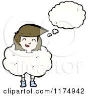 Cartoon Of A Girls Head In The Clouds With A Conversation Bubble Royalty Free Vector Illustration by lineartestpilot