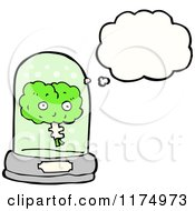 Cartoon Of A Green Brain In A Snow Globe With A Conversation Bubble Royalty Free Vector Illustration