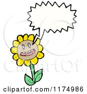Cartoon Of A Yellow Flower With A Conversation Bubble Royalty Free Vector Illustration by lineartestpilot
